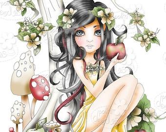 Snow White/apple Fairytale zwart-wit digitale stempel