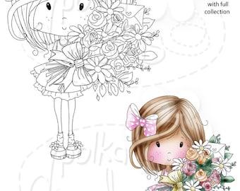 Een boeket van bloemen net voor u - Winnie suiker hagelslag - digitale stempel downloaden