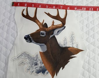 White Tailed Deer fabric piece - Applique - Large