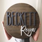 "Round name sign, NO LETTER LIMIT, 24"" round sign, nursery name sign"