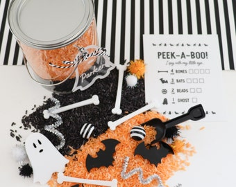 Mini Halloween Peek-a-boo sensory kit with kids personalized ghost tag, halloween boo basket, halloween party favors