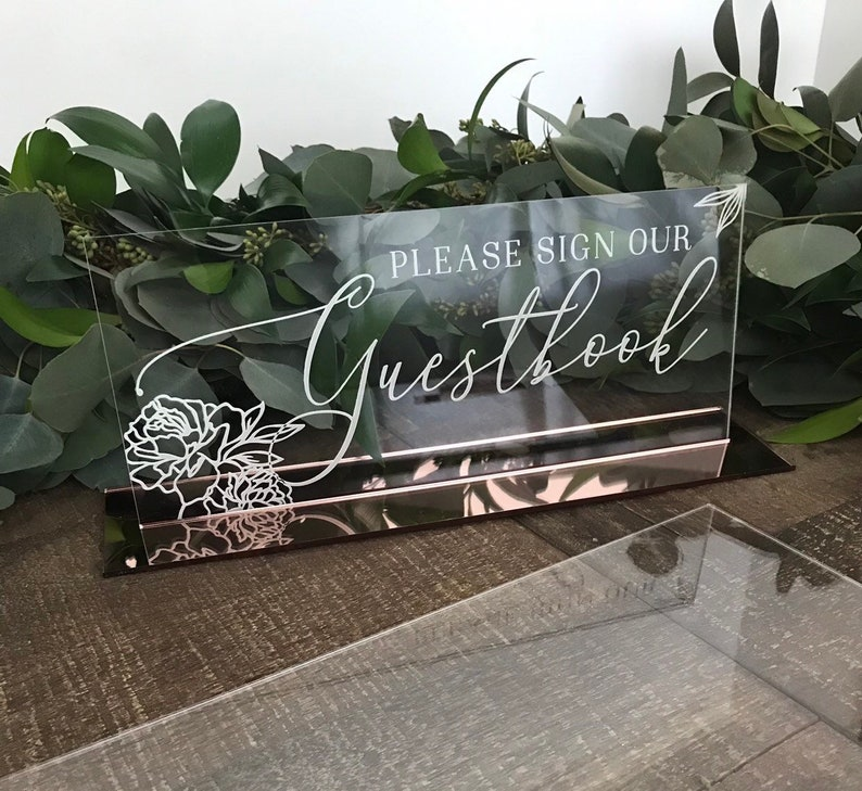 Guestbook sign acrylic wedding sign please sign our image 0