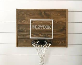 Rustic basketball goal, personalized basketball goal, basketball hoop, wood, brown basketball goal, wood backboard, deep brown