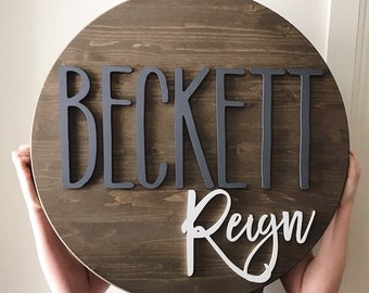 """Round name sign, NO LETTER LIMIT, 24"""" round sign, nursery name sign"""