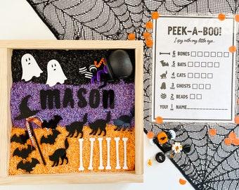 Peek-a-boo Halloween Sensory Kit, Halloween I spy sensory bin, montessori play kit, personalized sensory kit, personalized fall sensory tray