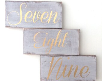 Wedding table numbers, table numbers, reserved seating sign