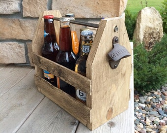 6 pack holder, beer carrier, wood beer caddy, wood 6 pack holder