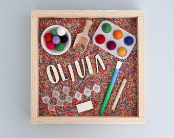 Kids Sensory Kit, Little Artist sensory kit, montessori play kit, personalized sensory rice kit, Paint themed sensory kit