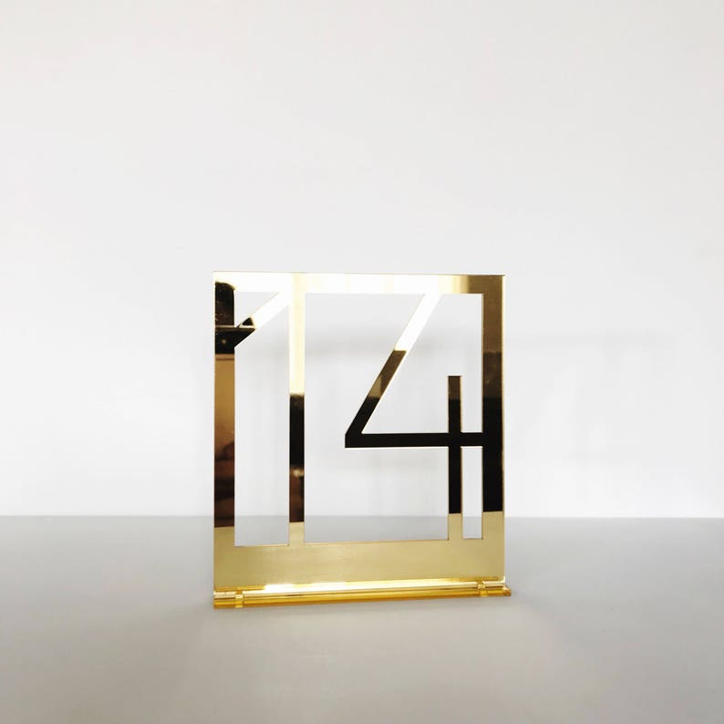Gold mirrored acrylic table numbers gold table numbers image 0