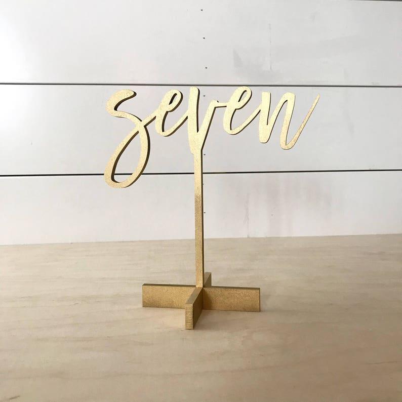 Modern script table numbers Freestanding table numbers image 0