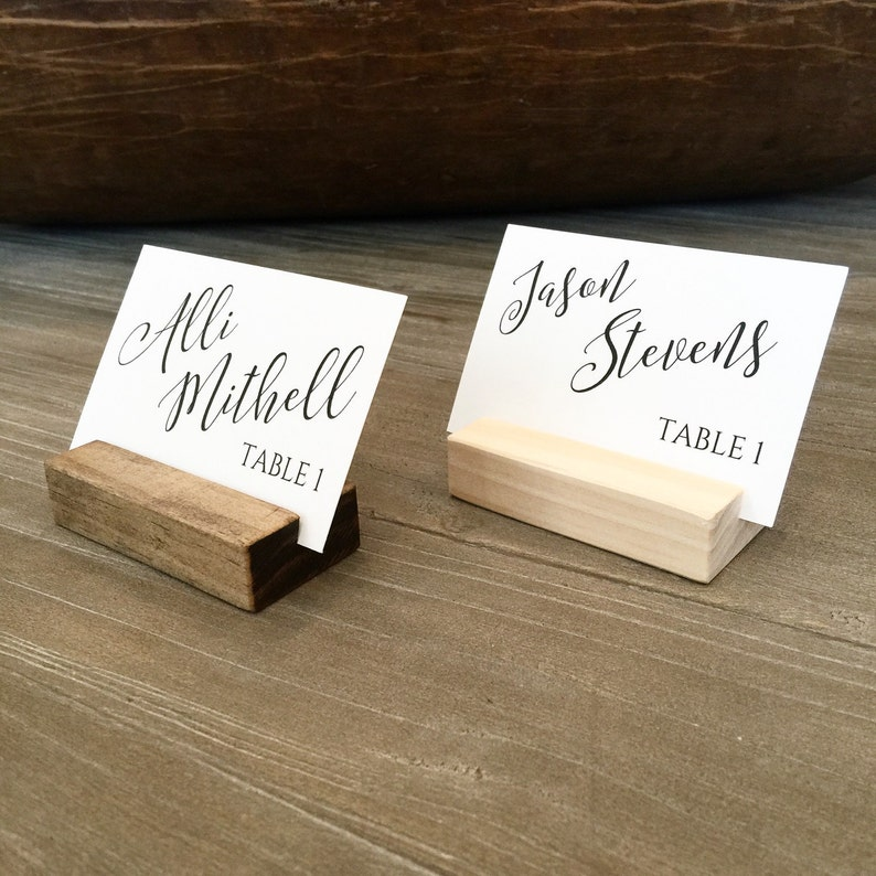 Place card holder wood escort card stand wedding seating image 0