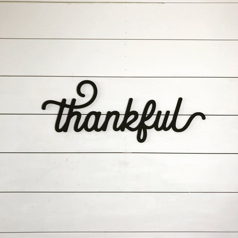Thankful sign word cutout wood words wood letter fall image 0