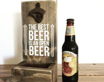 Cap catcher, wood bottke opener, beer opener, bottle cap catcher, best beer is an open beer