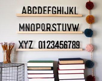"Letter board ledge, Set of 3 24"" ledges, homework station decor, letter board, alphabet sign, playroom decor, letters, Montessori"