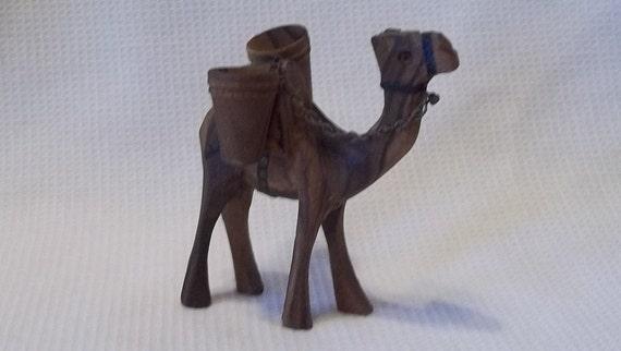 Vintage Hand Carved Wooden Camel