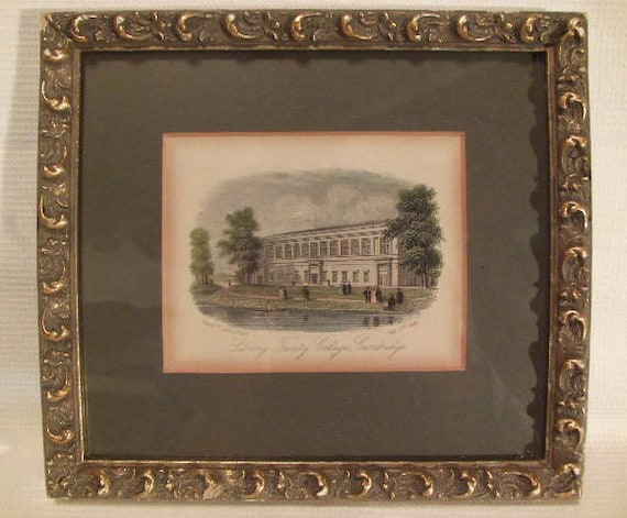 Vintage Library Trinity College Cambridge Etching Framed July 20th 1850  Rock & Co Study Library Decor Office Living Room Gesso Ornate Frame