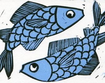 Two Blue Koi Fish Original Linocut Print