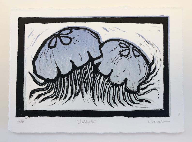 moon jellyfish art original art print JELLYFISH Block print art colorful ocean art