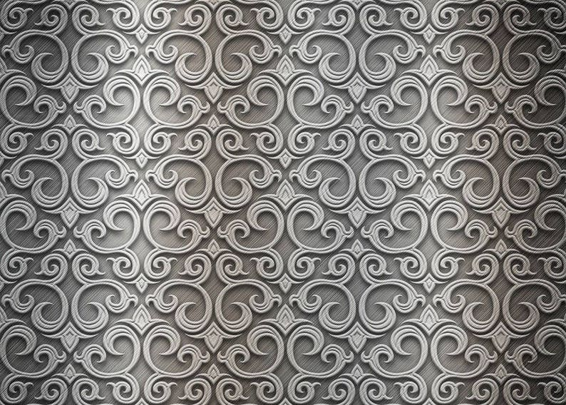 Laminated placemat silver baroque pattern number 2 image 0