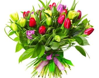 Plastic placemat bouquet of tulips