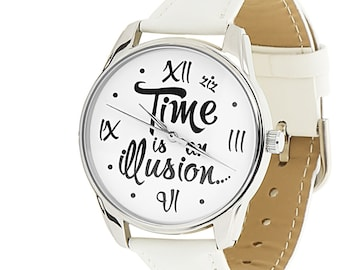 Time Is An Illusion Black Watch Black Wrist Watch Funny Gift Etsy