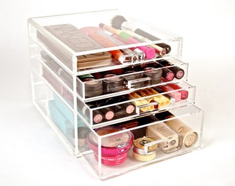 Clear Acrylic Makeup Organizer 4 Drawers