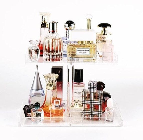 2 Tier Perfume Tray Acrylic Makeup Organizer Perfume Etsy