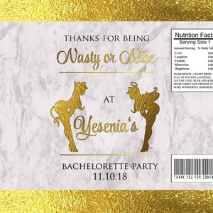 Nasty or Nice Raunchy Fun Bachelorette theme Hen Party Scratchers Party Favors-Gold Marble