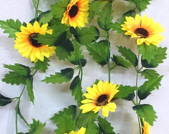 Artificial flowers etsy lot of 3 pcs x 240cm fake silk sunflower ivy vine artificial flowers with green leaves hanging garland garden fences home wedding decoration mightylinksfo