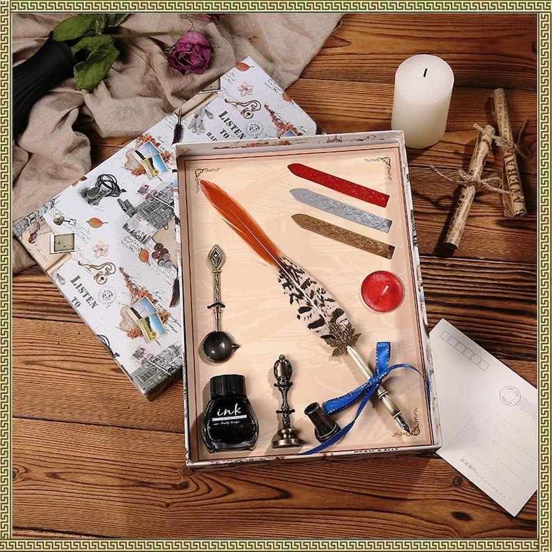 3 Lacquer wax 1 Spoon Vintage Peacock Feather Pen Personality Dip Water Pen Set Creative Metal Fountain Pen Gift Box For 1 Seal