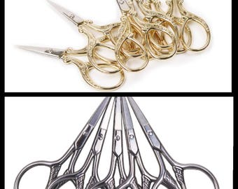 Wholesale lot of 10pcs European Retro Sewing Tailor Scissors Dressmaking Shears Cross-stitch Stainless Steel Sewing Scissors