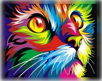 Abstract Framed Oil Paint DIY Painting Cat By Numbers Colorful Animals Home Decoration