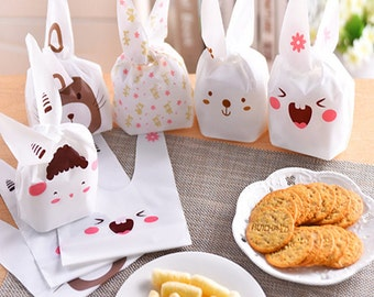 100 pcs rabbit ear cookie bags plastic candy Biscuit Packaging Bag Wedding Candy Wrapper Gift Bags party decorations