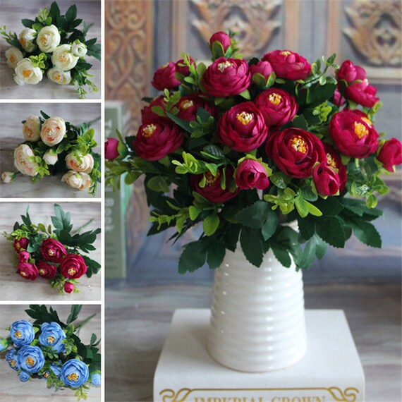 5 branchesbouquet multi color spring artificial fake peony etsy 50 mightylinksfo