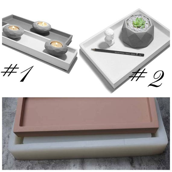 rectangular shape silicone molds cement plate moulds candle holder concrete  molds handmade tray molds DIY cement fruit tray