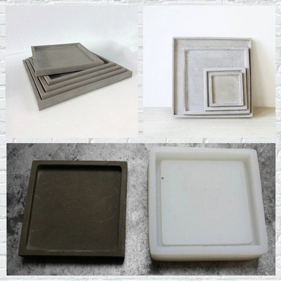 Square Plate different sizes silicone molds flower tray concrete molds DIY  garden planter mold