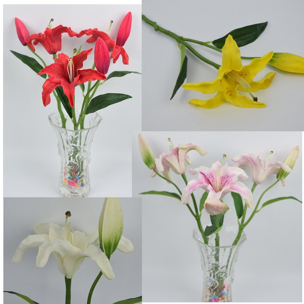 Lot of 3 pcs artificial lily flower yellow red pink white small pu lily real touch good quality flores artificiai zoom izmirmasajfo