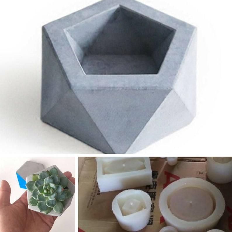 Silicone concrete molds home decoration geometric pentagon mould candle  holder mold candlestick multi - flower pots cement molds