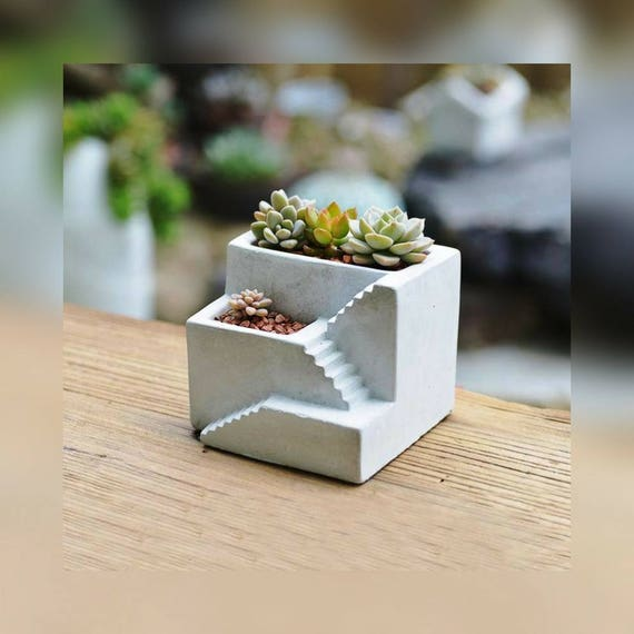 Creative Stairs Cement Succulent Plants Pot Silicone Mold Clay Etsy