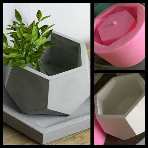 Hexagon Concrete Planter Silicone Mold Handmade Craft Home Etsy