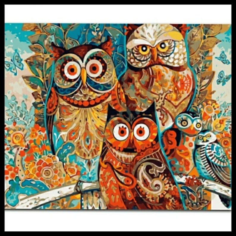 Frameless Oil Painting By Numbers Wall Art Diy Picture Owls Etsy