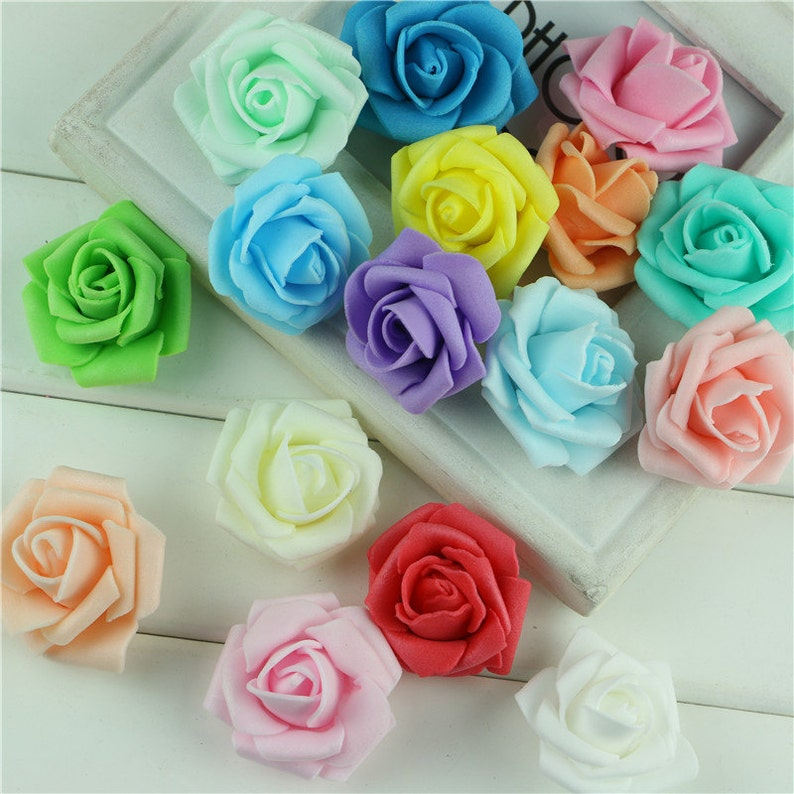 10 Or 100 Pcs Foam Roses Pink Red Green Blue Yellow Ivory Etsy