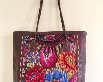 Sample sale >><< Leather & huipil bag, Huipil tote, Flower pattern Huipil bag, Brown leather bag,