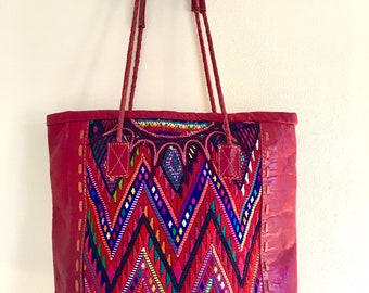 Sample sale >><< Leather and huipil tote Bag, Huipil tote, Leather tote, Red leather bag, Upcycled huipil bag, Handmade, One of a kind.