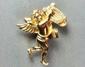 GIVENCHY Large 1990 39 s Cherub Brooch Playing a Harp