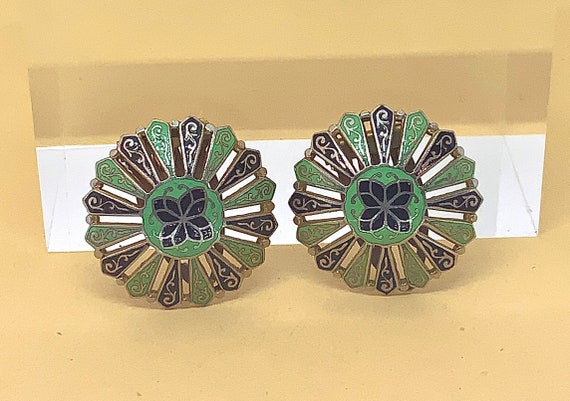 CORO DRESS CLIPS Vintage Pair Enamel Late 20's- mi