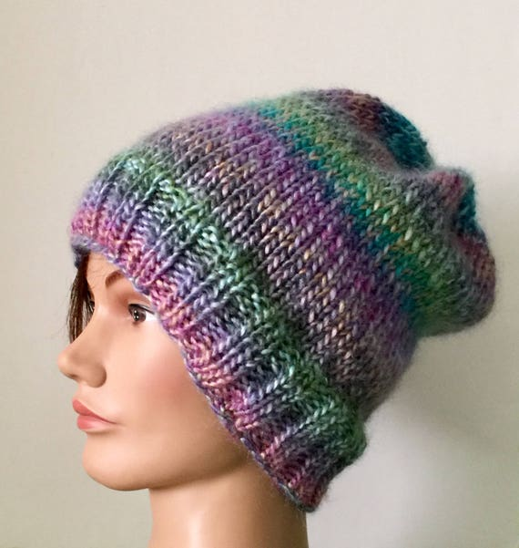 38d6abb654e Hand knit hat wool blend winter slouchy beanie womens