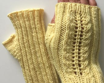 Hand knit yellow merino wool fingerless mitts, yellow lace fingerless gloves, hand knit gift.