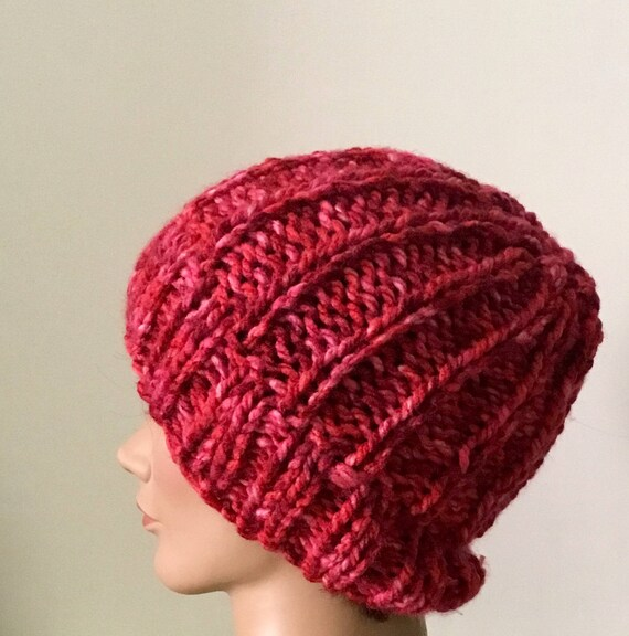 0b871809f40 Hand knit red slouchy beanie red chunky hat womens red