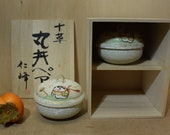 Set of 2 Round Ceramic Bowl With Lid Hand Painted Children Toys Wooden Storage Box